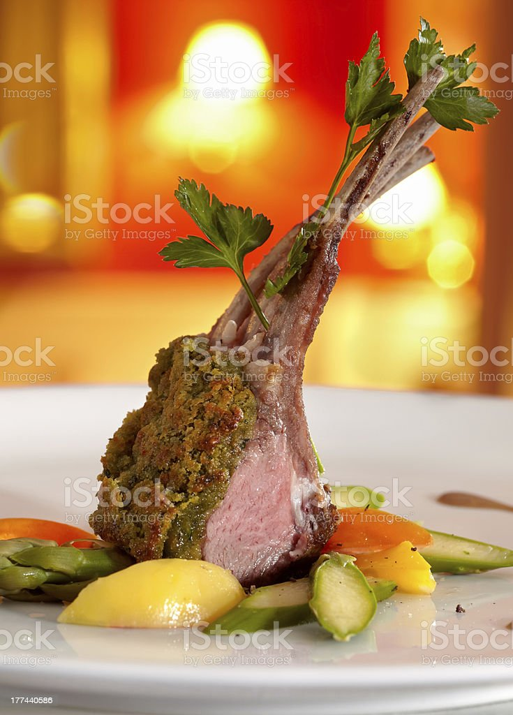 Rack of lamb in a herb crust. royalty-free stock photo