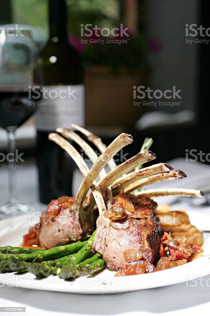 Rack of Lamb on a plate stock photo