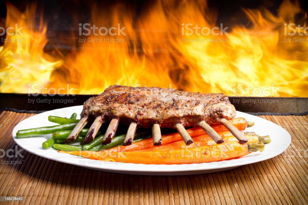 Rack of Lamb, plated with Flames stock photo