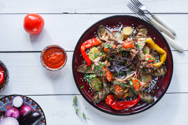 Rack of Lamb with potato. tomato and peppers ,turkih cuisine. stock photo