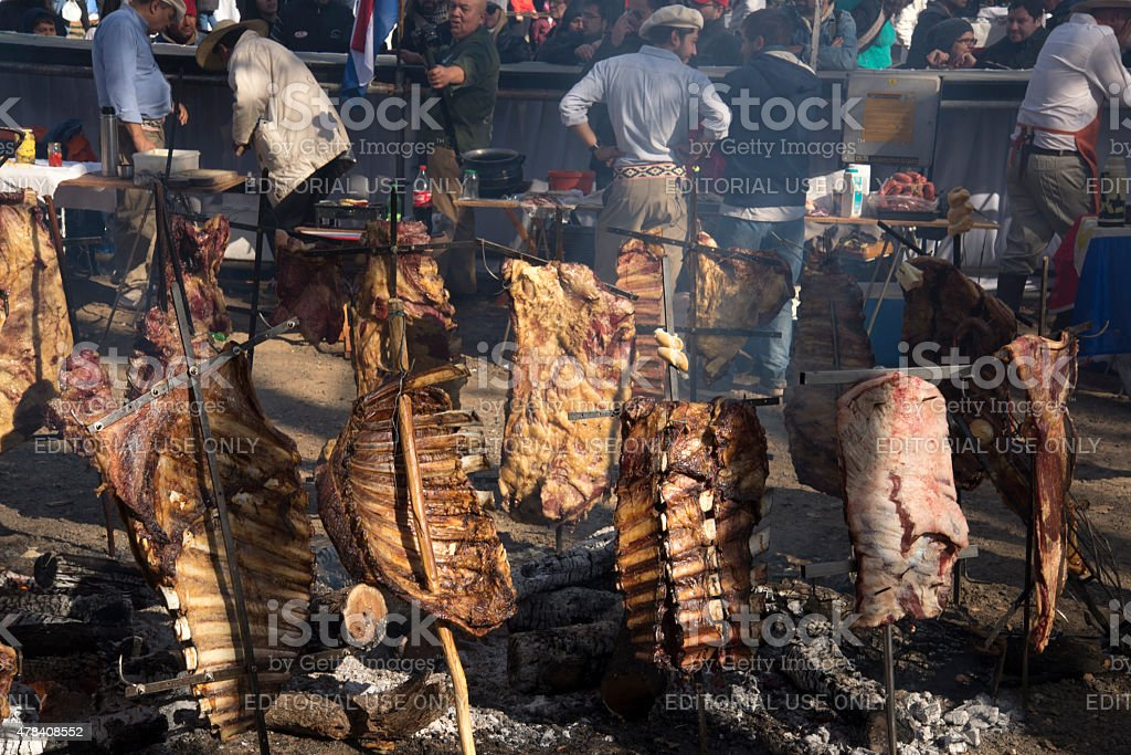 Rack of Ribs Roasted on Crosses 02 stock photo