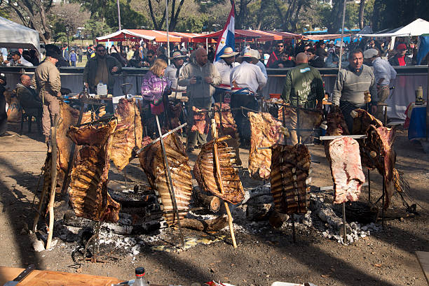 Rack of Ribs Roasted on Crosses 04 stock photo