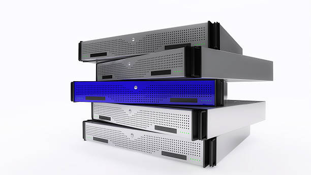 Rack Servers Blue stock photo