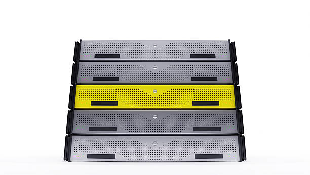Rack Servers yellow stock photo