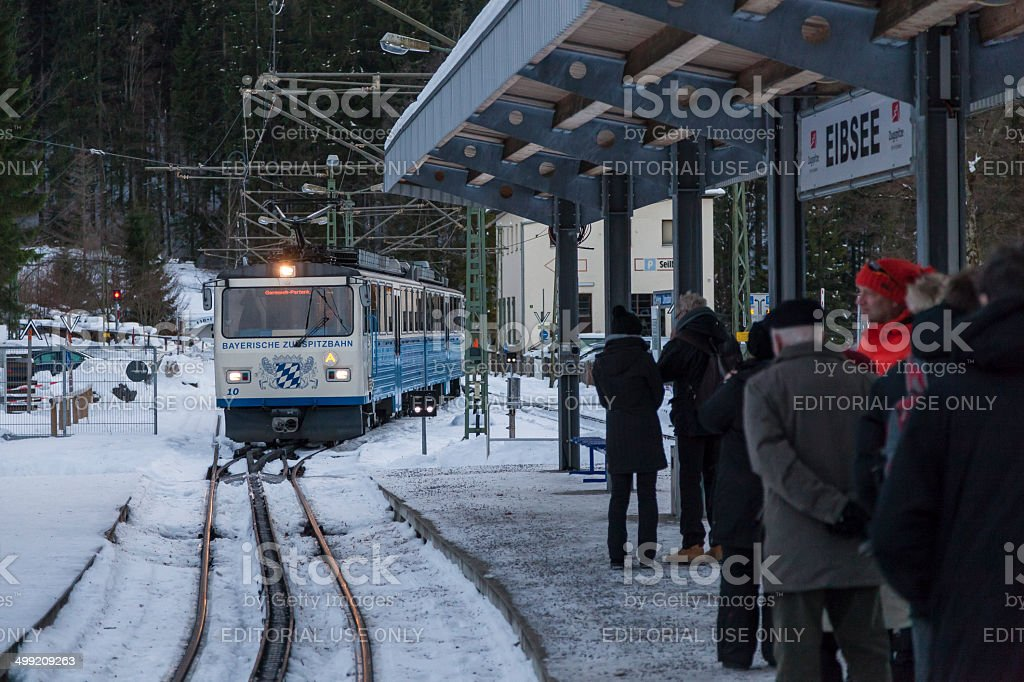 Rack Train Approaches Station Eibsee Germany stock photo