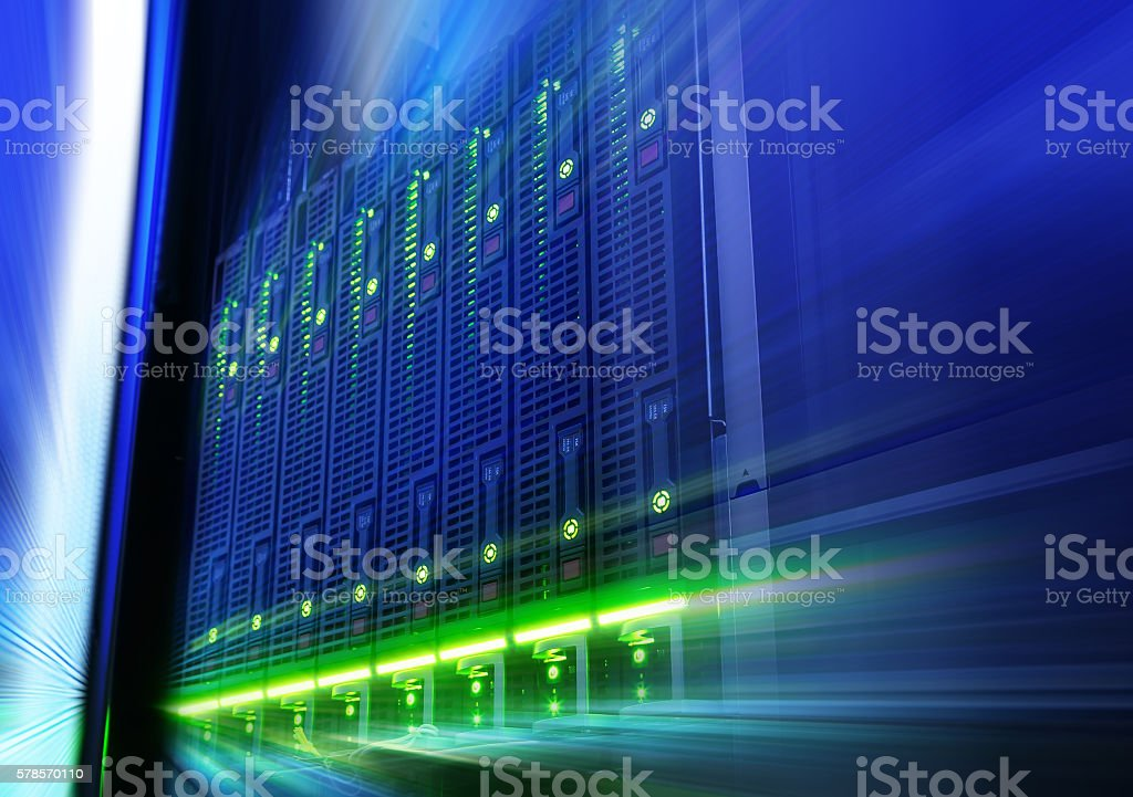 rack with blade behind bars mainframe in data center stock photo