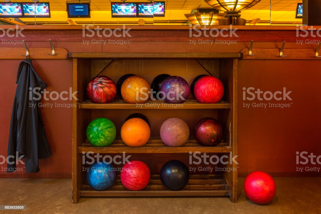 Rack with bowling balls stock photo