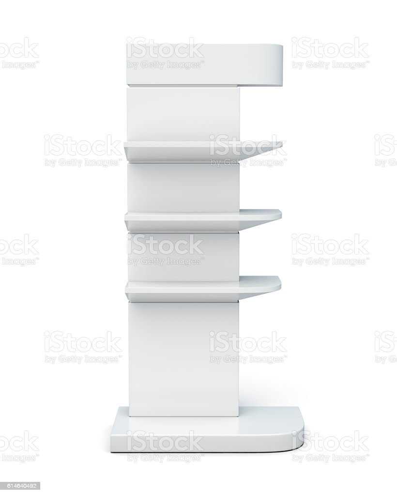Rack with shelves front view on a white background. - foto de stock
