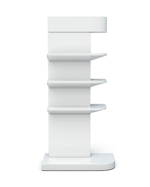 rack with shelves front view on a white background. - retail display stock photos and pictures