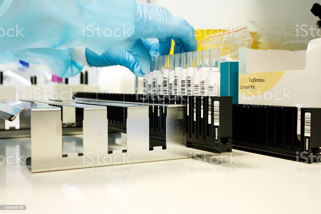 Rack with test tubes of blood stock photo