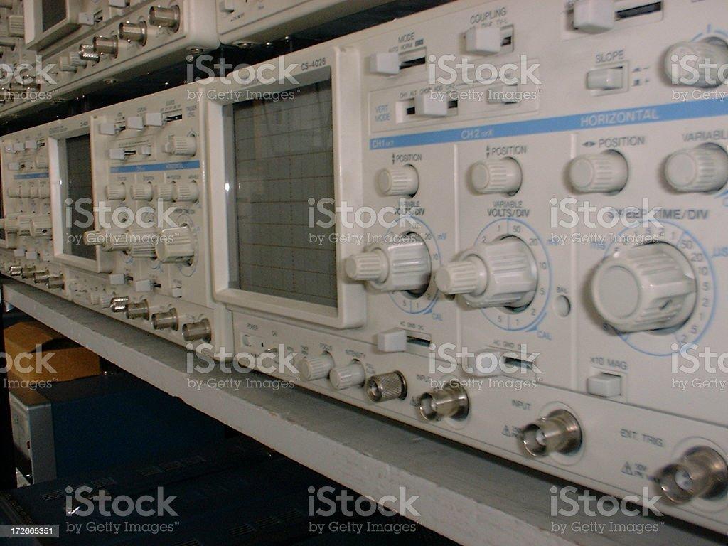 Racked Oscilloscopes royalty-free stock photo