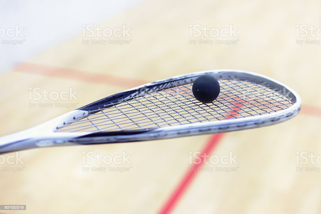 racket and ball for squash stock photo