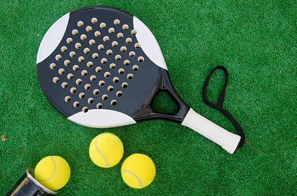 Racket and balls stock photo