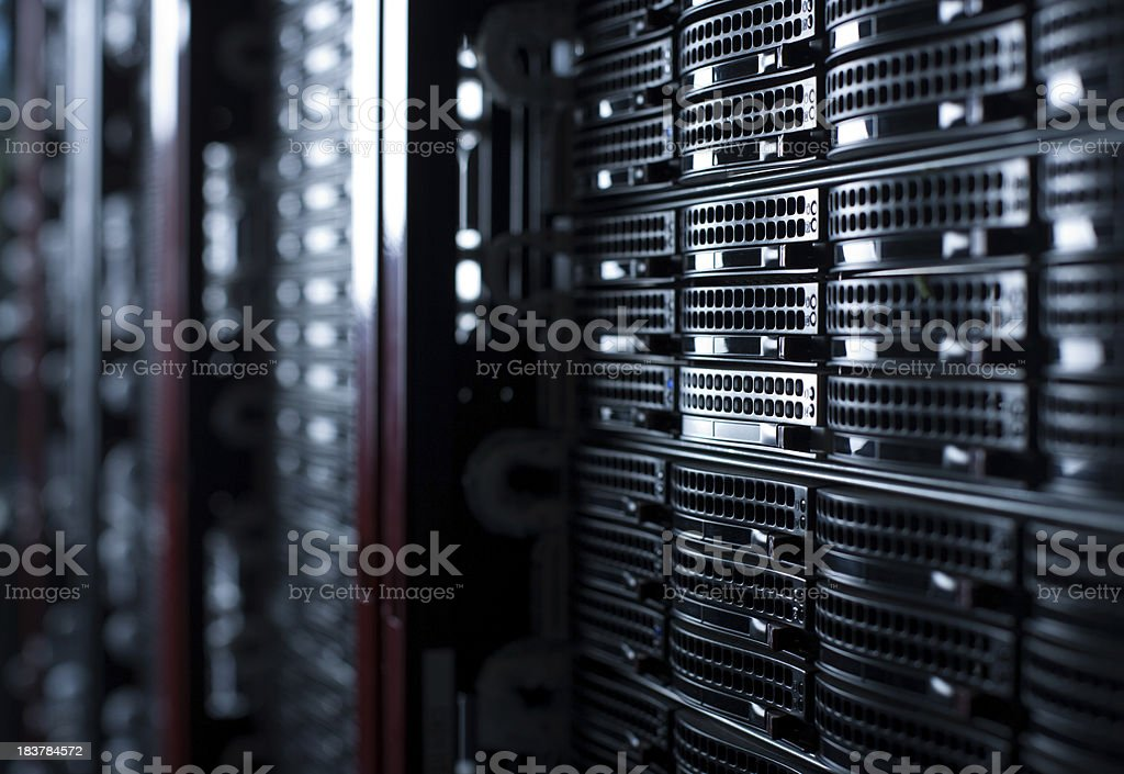 Rackmounted Servers in a Datacenter stock photo