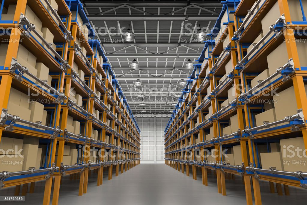 racks full of carton boxes royalty-free stock photo
