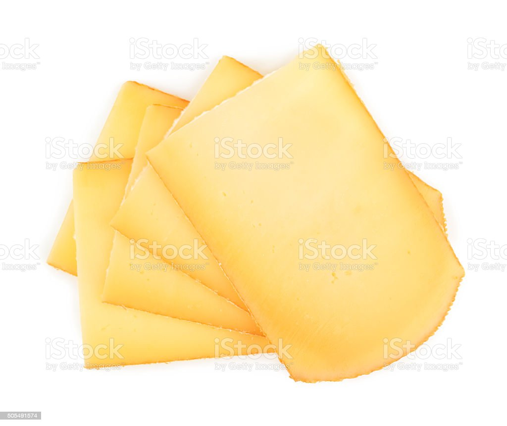 Raclette cheese isolated on white background stock photo
