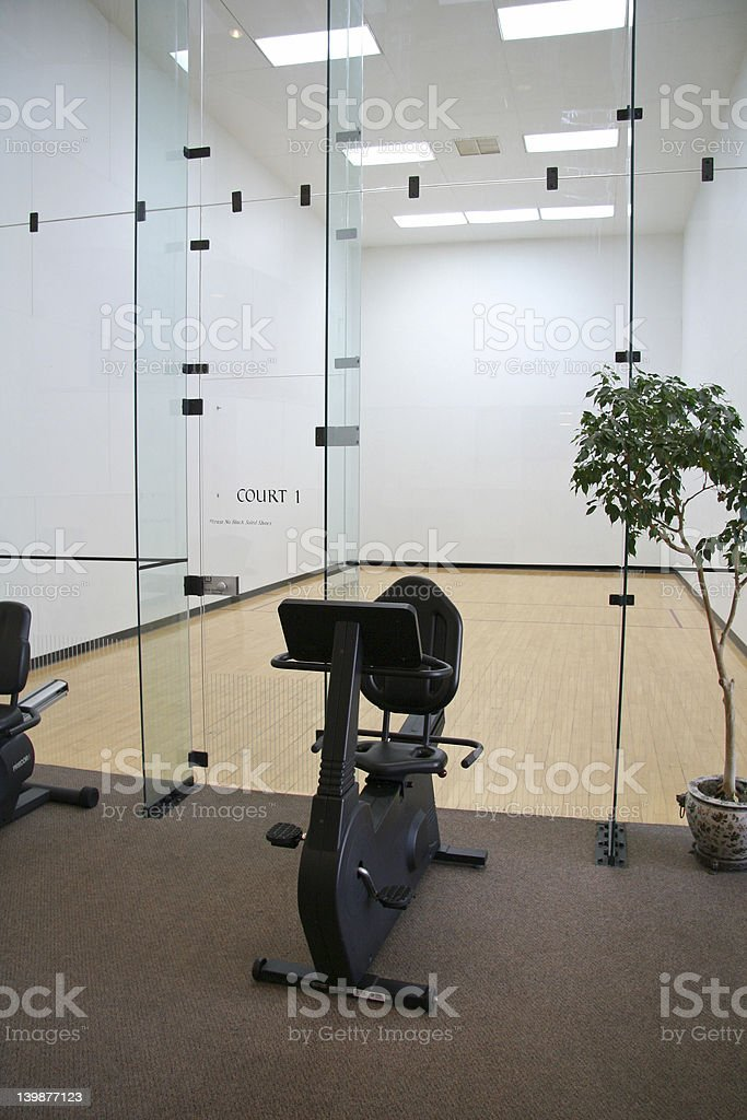 Racquetball Court with Exercise Bike royalty-free stock photo