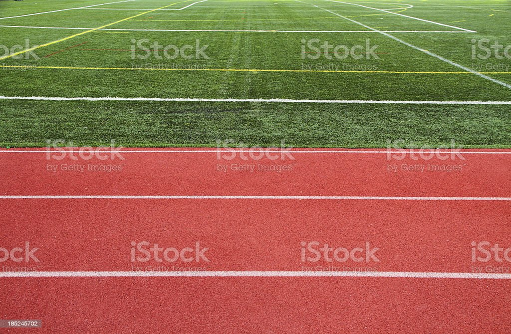 Ractrack and grass field at Sports Venue royalty-free stock photo