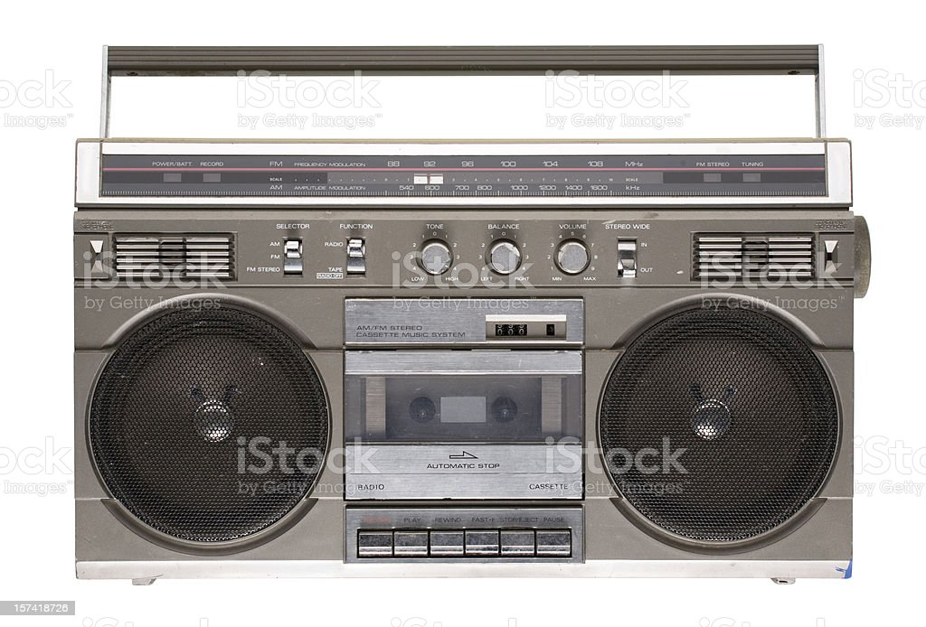 Rad '80s boombox (isolated on white) royalty-free stock photo