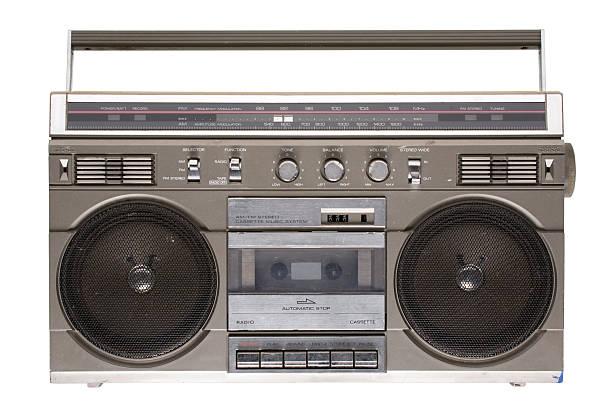 Rad '80s boombox (isolated on white) stock photo