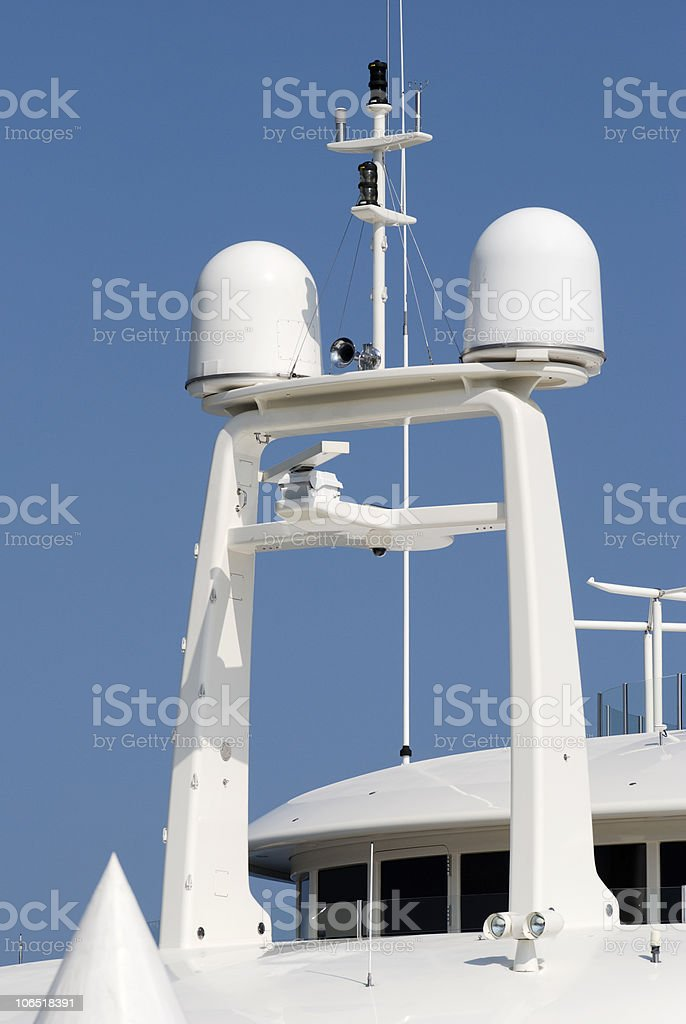 Radar and aerials on superyacht. Cannes. France stock photo