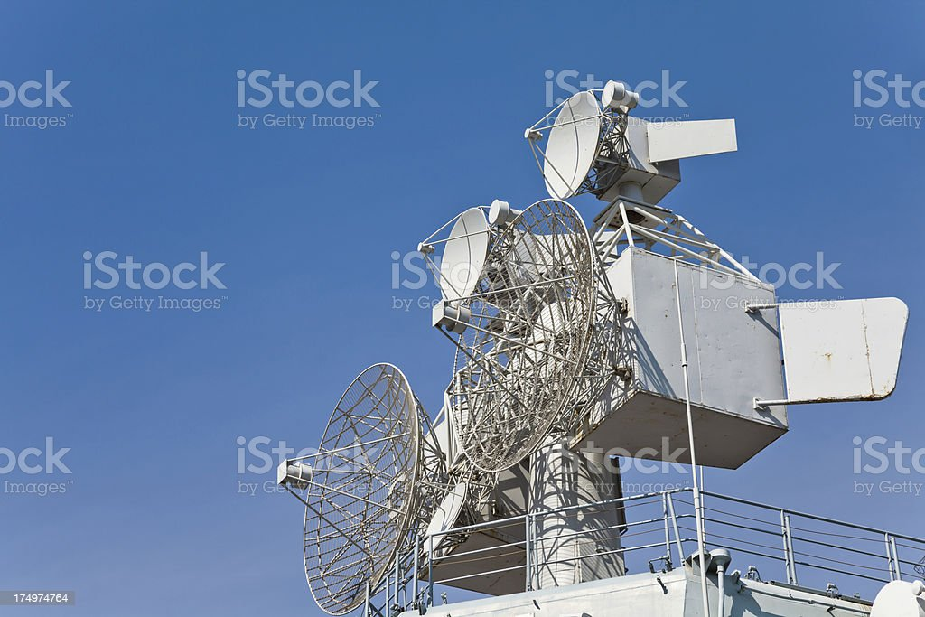 Radar and bridge of Russian aircraft carrier stock photo