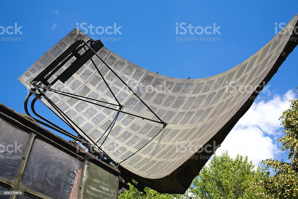 Radar antenna stock photo