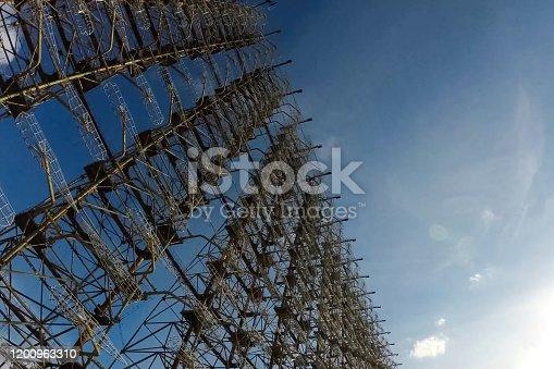 istock Radar arc in Chernobyl. Old collapsing radar antenna on sky background 1200963310