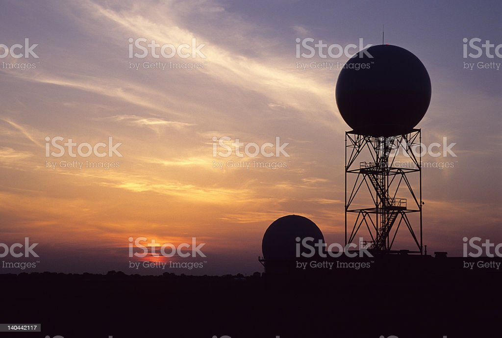 Radar dome at sunset, Oklahoma stock photo