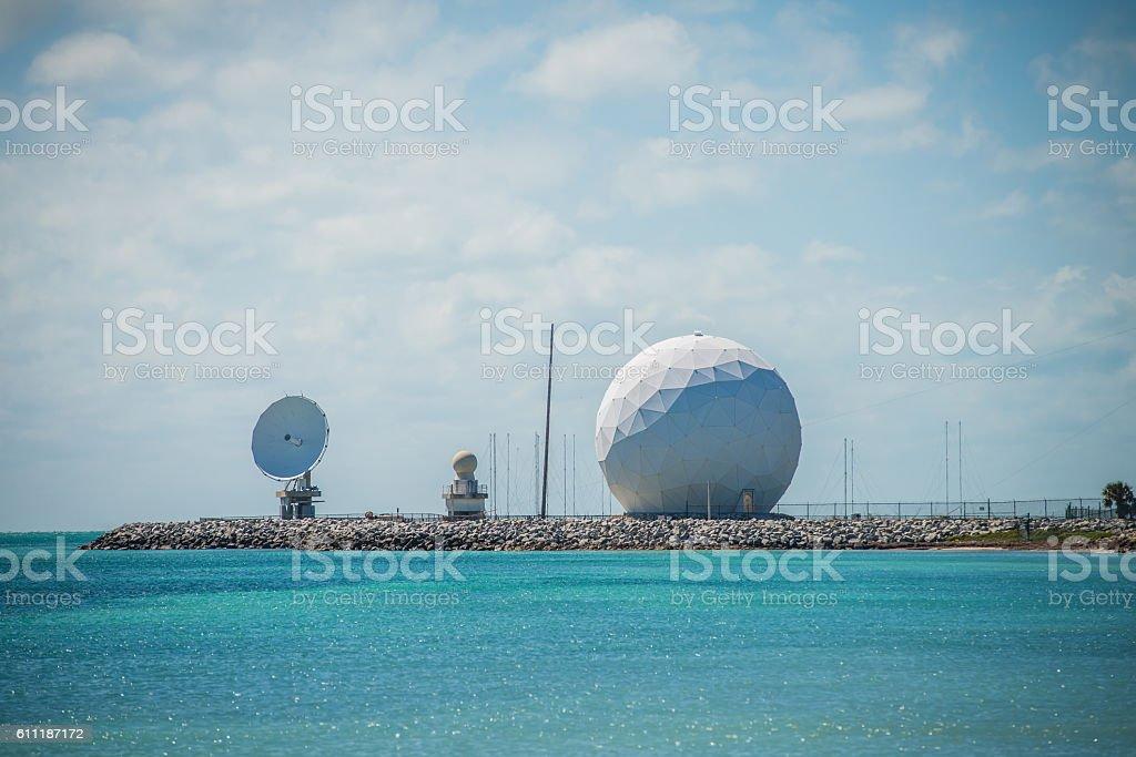 radar dome technology on the sea coast stock photo