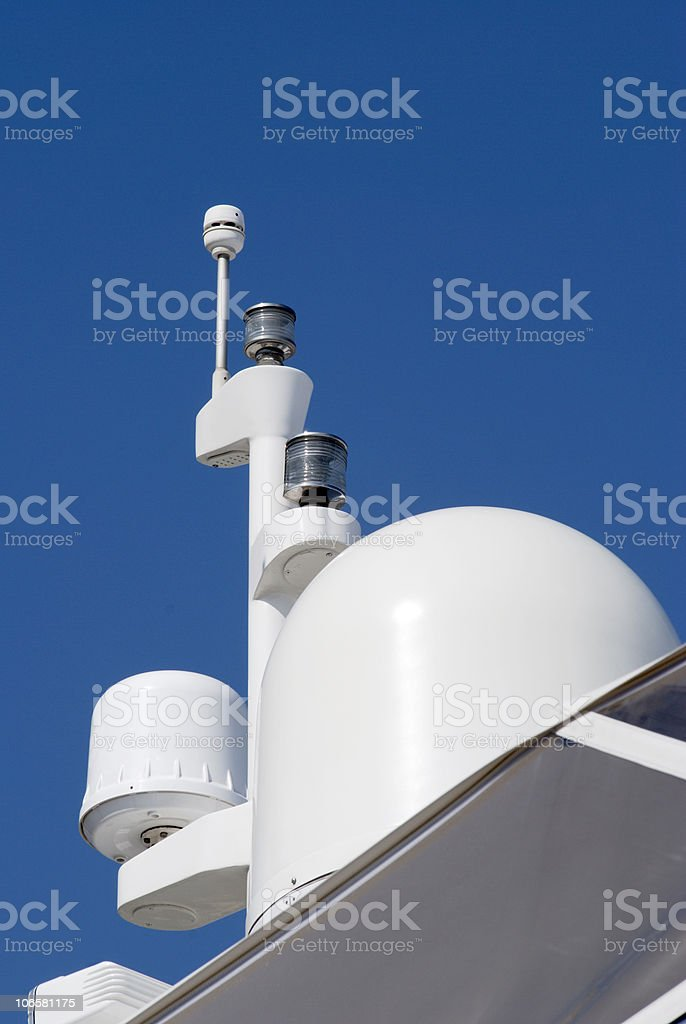 Radar domes on motorboat. Cannes. Cote d'Azur. France stock photo