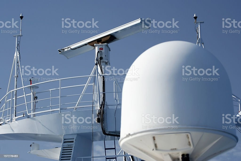Radar equipment on a cruise boat royalty-free stock photo