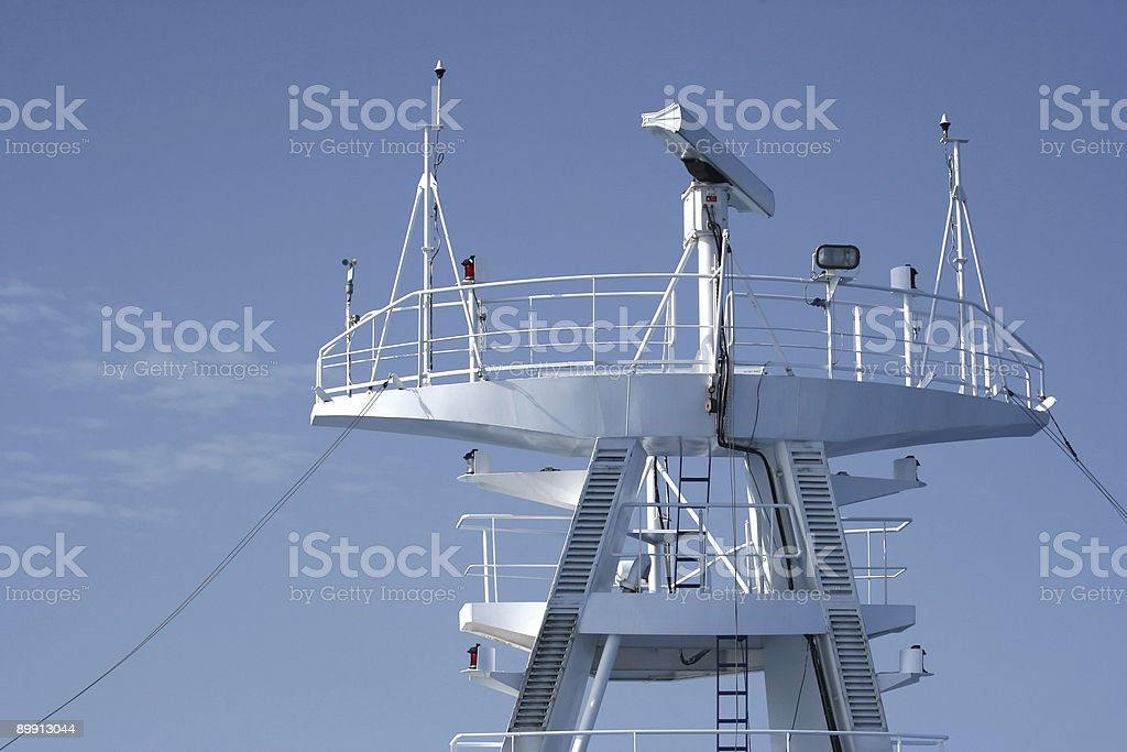 Radar equipment on a cruise boat royalty-free stock photo