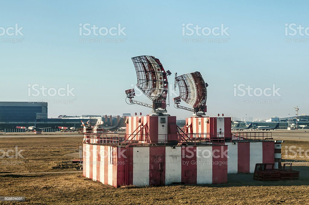 Radar in airport and air traffic control stock photo