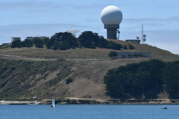 radar installation with harbor - steven harrie stock photos and pictures