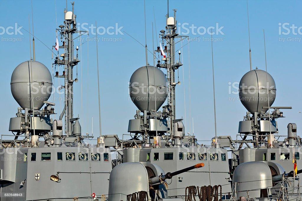 Radar masts in military ships stock photo