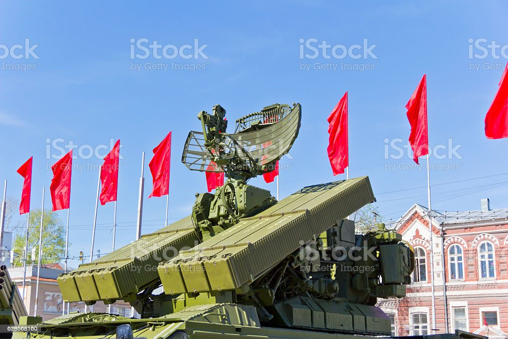 Radar of military transport stock photo