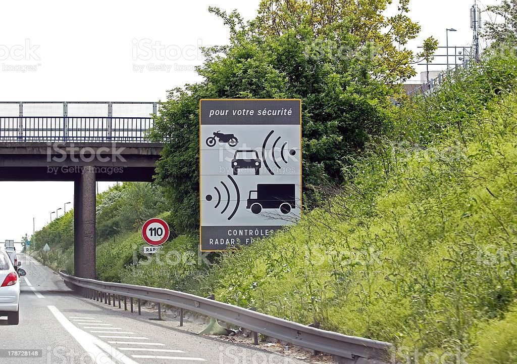 Radar panel on highway in France stock photo