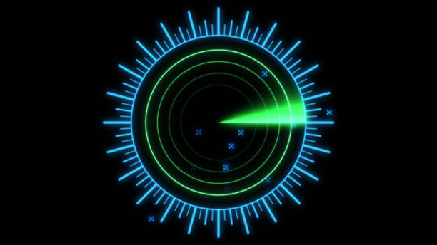 A radar screen is scanning for signals 3d illustration stock photo