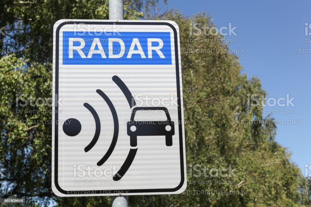 Radar signal and control on a road stock photo