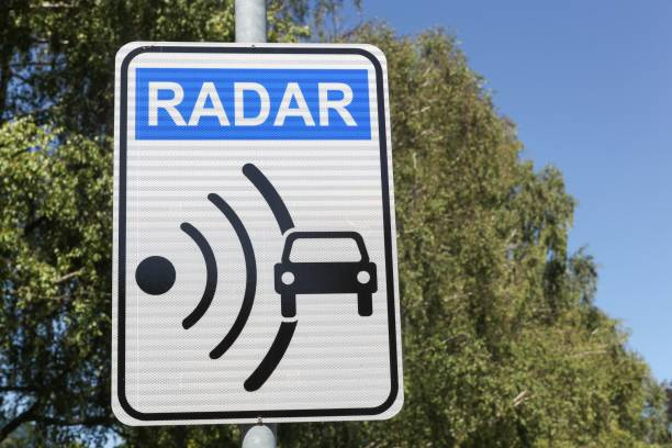 radar signal and control on a road - radar foto e immagini stock
