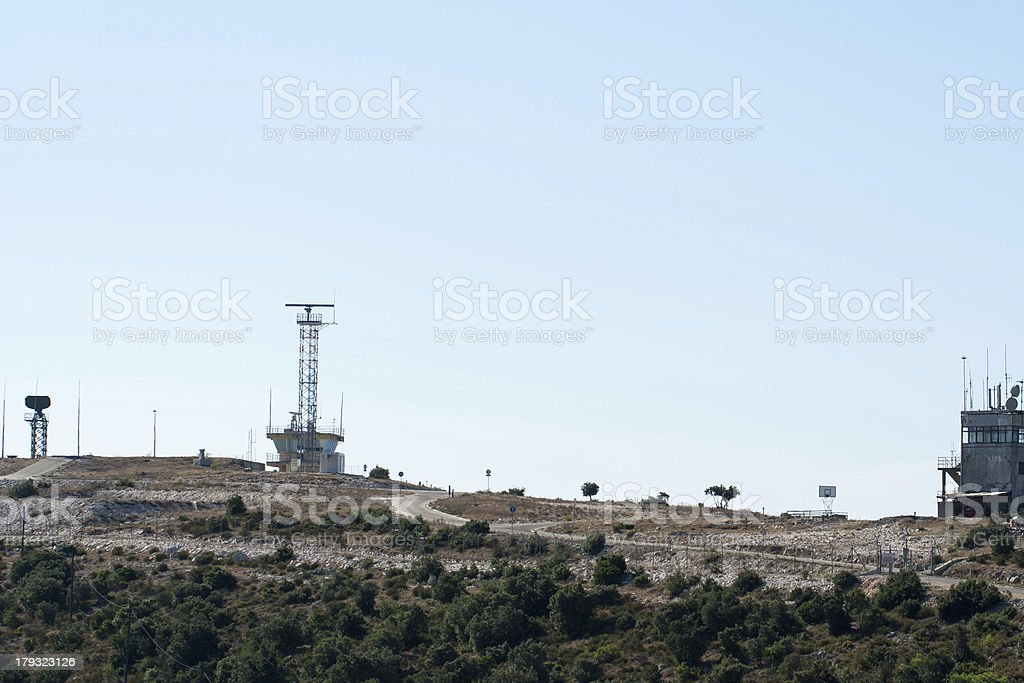 radar station in desert stock photo