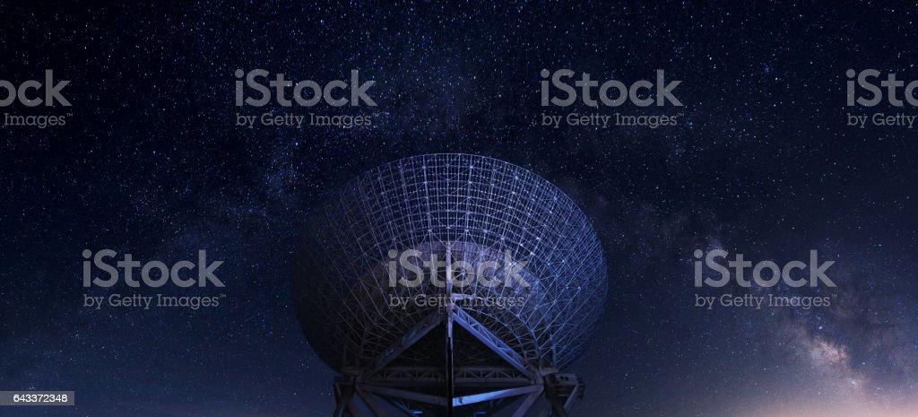 radar station under milky way stock photo