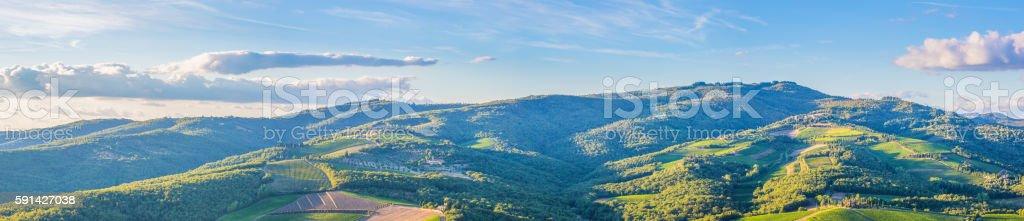Radda in Chianti countryside panoramic stock photo