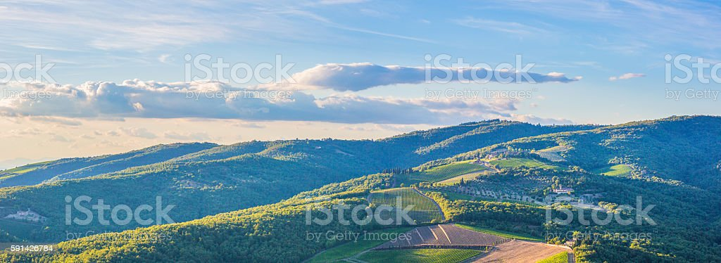 Radda in Chianti countryside stock photo