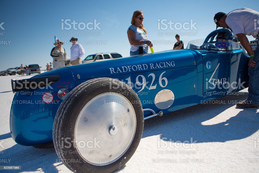 Radford Racing Car and its crew members, Bonnevilles Salt Flats stock photo
