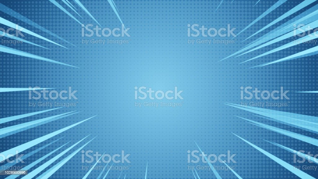 Radial Background of halftones and high-speed abstract lines for Anime 3d illustration stock photo