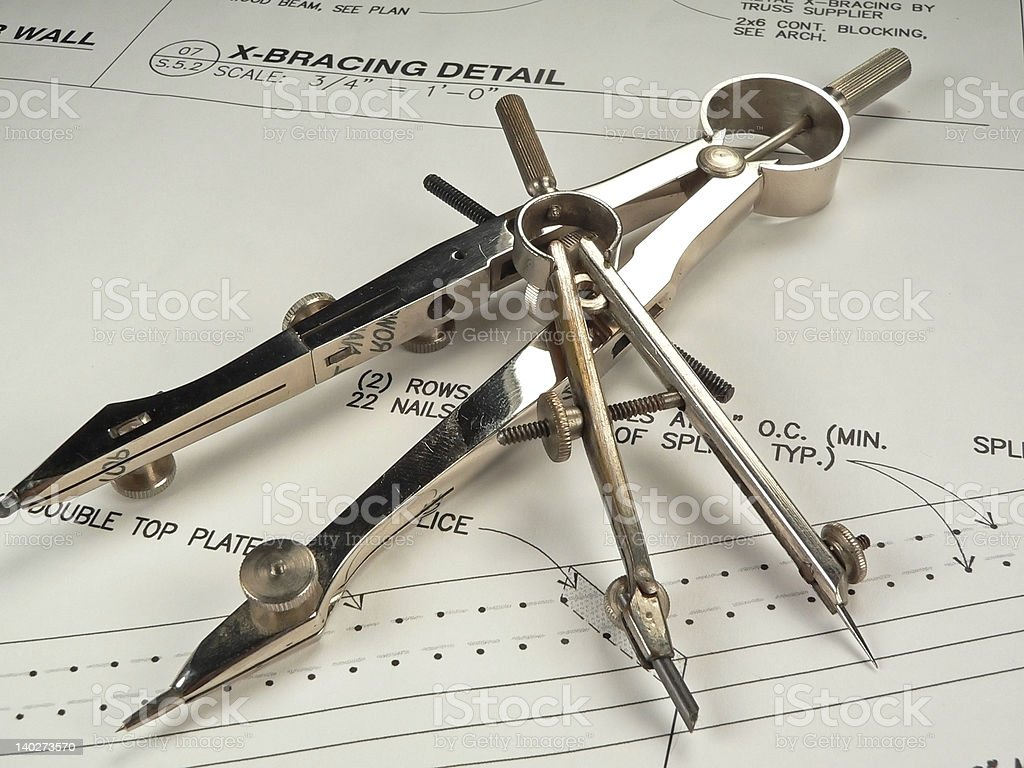 Radial Compasses for an Architect royalty-free stock photo