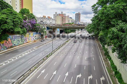 Sao Paulo SP, Brazil - March 03, 2019: View of Radial Leste avenue, east-west link. Large arterial avenue of the city. Photo taken from the bridge of Liberdade neighborhood.