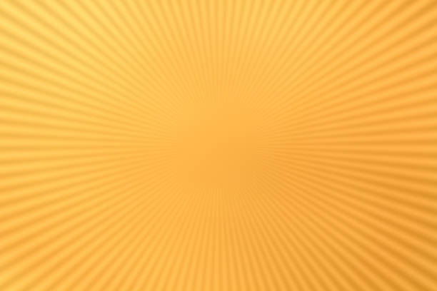 radial lines on yellow - manga style stock photos and pictures